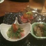 Kobe beef, squid with asparagus, snapper sashimi