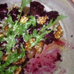 Beet salad with some bites taken out